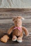 Pluizig stuk speelgoed konijntje met koekjes in de vorm van harten prentbriefkaar Stock Foto's