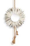 Pluizige bal, bonttegenhanger op wit Stock Afbeelding