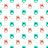 Pluizige blauwe en roze uilen met gestippelde achtergrond Royalty-vrije Stock Afbeelding