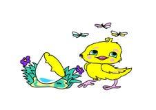 Pluizige gele kip Royalty-vrije Stock Afbeelding