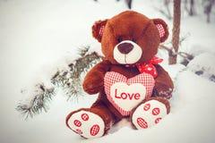Pluizige leuke zachte stuk speelgoed teddybeer met hartliefde in sneeuw Stock Foto's