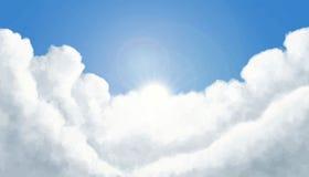 Pluizige wolken met het glanzen zonvector vector illustratie