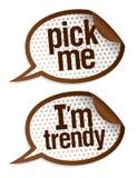 Pluk me trendy stickers van I `m. stock illustratie
