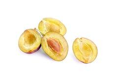 Plum. Ripe plum fruit on white background Royalty Free Stock Photos