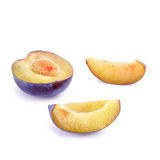 Plum. Ripe plum on white background (isolated, clipping path Royalty Free Stock Photos