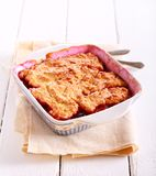 Plum and apple cobbler. In a tin royalty free stock image