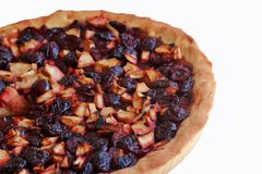 Plum apple pie. A freshly baked apple pie plums with a white backgroumd Stock Photo