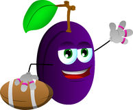 Plum as American football player Stock Images