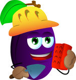 Plum as bricklayer with brick and trowel Royalty Free Stock Photo