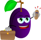 Plum as businessman with phone Royalty Free Stock Image