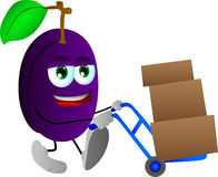 Plum as delivery man Royalty Free Stock Photos