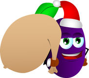 Plum as Santa Claus with a big sack Royalty Free Stock Photography