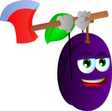 Plum with an axe Stock Image