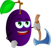 Plum with axe Royalty Free Stock Images