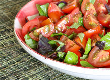 Plum Baby Tomato Salad With Basil Gingham Plate Fotos de archivo