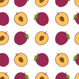 Plum background. Seamless pattern with plums. Flat style. Vector Royalty Free Stock Images