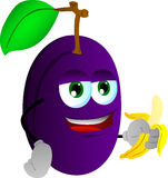 Plum with banana Royalty Free Stock Image