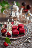 Plum bars. Plum, chocolate and nuts bars, selective focus Stock Image