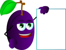Plum with blank board Royalty Free Stock Photos