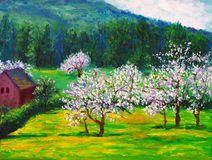 Plum blossom. Oil painting of the plum blossom stock illustration