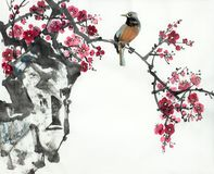 Plum blossom branch and bird. On a light background stock illustration