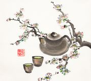 Plum blossom branch and clay pot with a cup. Plum blossom branch and clay teapot with a cup of green tea