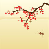 Plum blossom. And fisherman in Chinese painting style Stock Photo