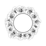 Plum Blossom Flower Banner Wreath Outline isolated on White Background. Vector Illustration.  royalty free illustration