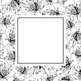 Plum Blossom Flower Outline Banner Card. Vector Illustration.  royalty free illustration