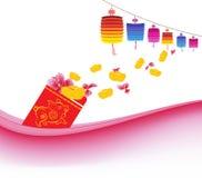 Plum Blossom und Barren wurden heraus vom roten Paket verschüttet Chinesisches neues Jahr lizenzfreie abbildung