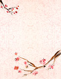 Plum blossomm background. Ancient Traditional Artistic plum blossomm on background a rice-paper. An enough place is for inscriptions vector illustration