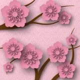 Plum blossoms on branches, paper style with shadows. Pink background with a pattern. vector illustration