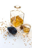 Plum brandy. COMPOSITION WITH hungarian plum BRANDY Royalty Free Stock Photo