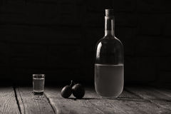 Plum brandy, bottle of Rakija Royalty Free Stock Images