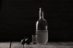 Plum brandy, bottle of Rakija Stock Image