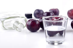 Plum brandy and fresh plums Stock Photos