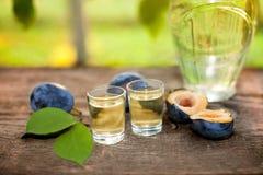 Plum brandy slivovitsa in shot glasses Royalty Free Stock Photography