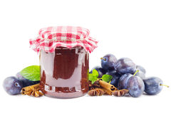 Plum butter on white Stock Photos