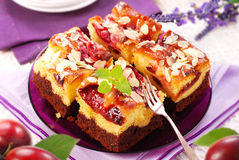 Plum cake with almonds Royalty Free Stock Image