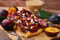 Plum cake with almonds and walnuts Stock Image