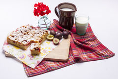Plum Cake And Cup Of Milk On White. Stock Images