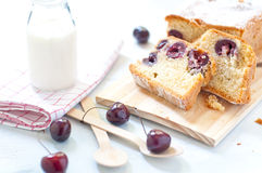 Plum cake with cherries , butter and milk italy Stock Photos