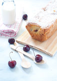 Plum cake with cherries , butter and milk italy Royalty Free Stock Images