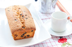 Plum cake  with cocoa, apple and  fruit Stock Photos