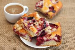 Plum cake and coffee with book Stock Photography