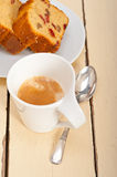 Plum cake and espresso coffee Royalty Free Stock Images