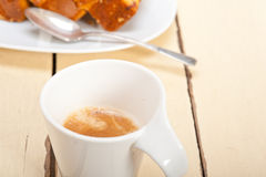 Plum cake and espresso coffee Stock Images