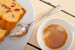 Plum cake and espresso coffee Royalty Free Stock Photography