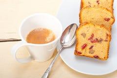 Plum cake and espresso coffee Stock Image