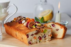 Plum cake food candied fruits, nuts, dried Stock Photography